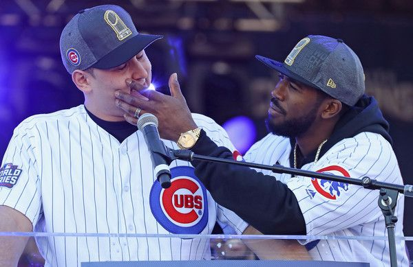 Dexter Fowler of the Chicago Cubs (R) checks for tears after Anthony Rizzo gets choked up speaking to the crowd during the Chicago Cubs victory celebration in Grant Park on November 4, 2016 in Chicago, Illinois. The Cubs won their first World Series championship in 108 years after defeating the Cleveland Indians 8-7 in Game 7.