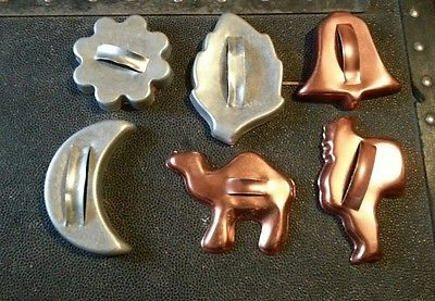 vintage cookie cutters lot 6 camel Santa bell moon leaf flower handle midcentury