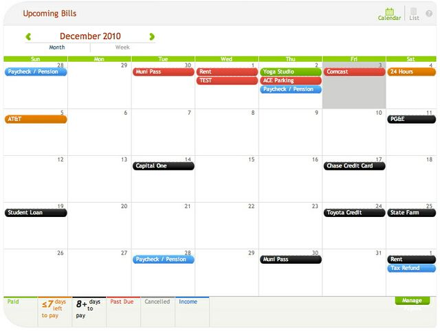 how to use a financial calendar in personal finance software organize bills income