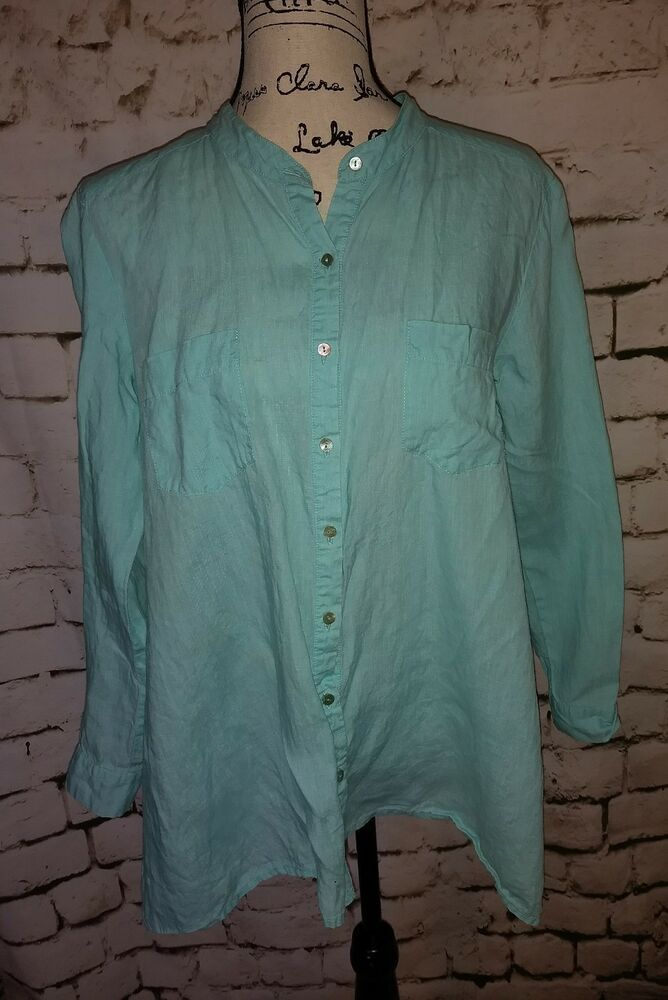 c1e99a80 Eileen Fisher Turquoise Blue Button Down Linen Blouse Shirt Top Womens  Small #EileenFisher #Blouse