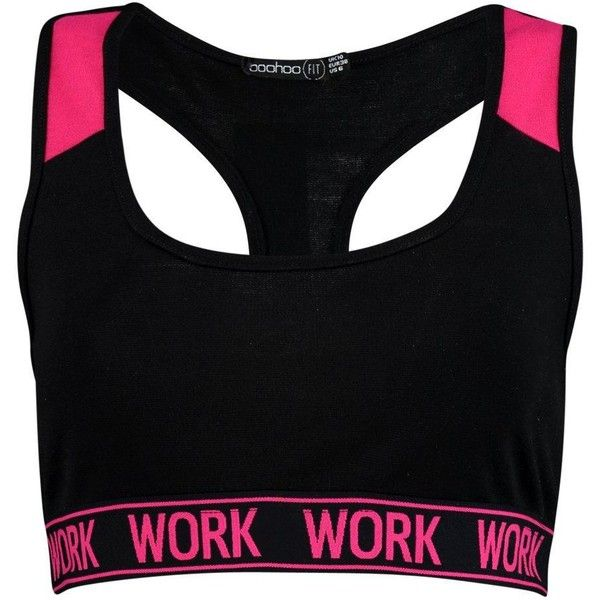 Boohoo Erin FIT Work Slogan Band Sports Bra | Boohoo (19 AUD) ❤ liked on Polyvore featuring activewear, sports bras, polka dot jersey, polyester camisole, polka dot cami, polka dot sports bra and cropped cami