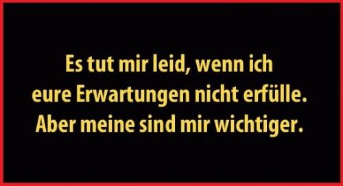 Das ich stimme zu! I truly agree with this. I'm sorry if I don't fulfill your expectations, but mine are more important. Yes!! I couldn't agree anymore.