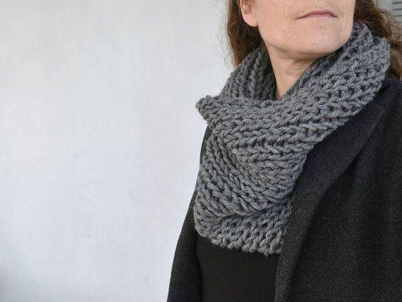 Grey chunky knit scarf  chunky infinity scarf  knit by Loulalalou
