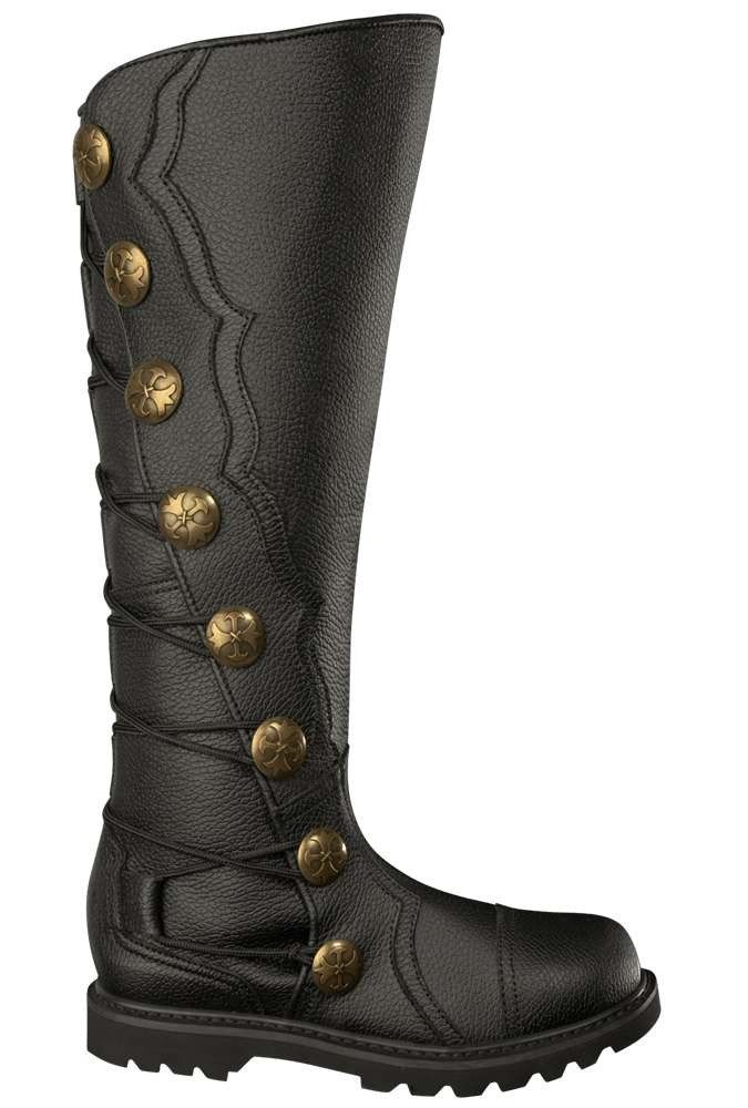 Men's Black Leather Knee High Renaissance Boots 9912-BK , Boots - House of Andar, House of Andar  - 1