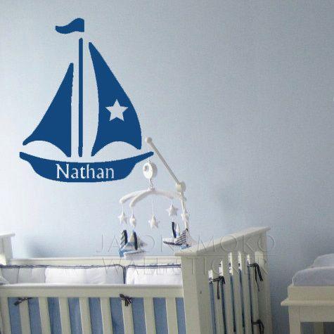 Nautische zeilboot, varen, gepersonaliseerde naam vinyl muur belettering stickers citaten woorden kunst op maat, kinderen muur 40* 50cm gratis verzending