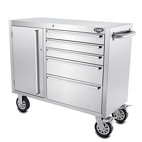 THOR KITCHEN Anti-fingerprint Stainless Steel Rolling Tool Chests 41 Inch 5 Drawers Tool Box Storage Bottom Cabinet with Casters -- undefined