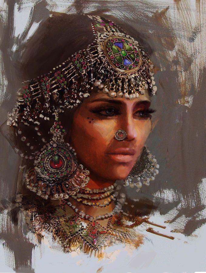 Pakistani woman in traditional Matha Patti