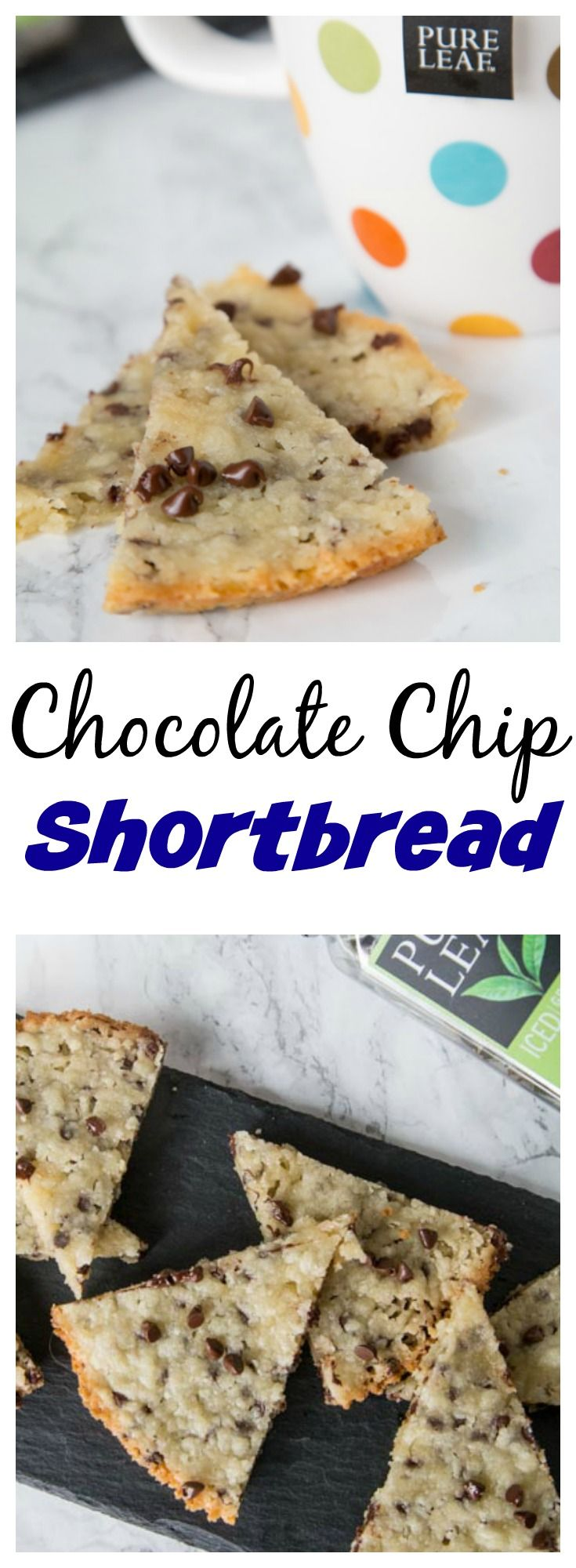 Chocolate Chip Shortbread – buttery shortbread with lots of chocolate chips. Just a few ingredients and so easy to make! Perfect for a holiday baking tray or a cup of tea!