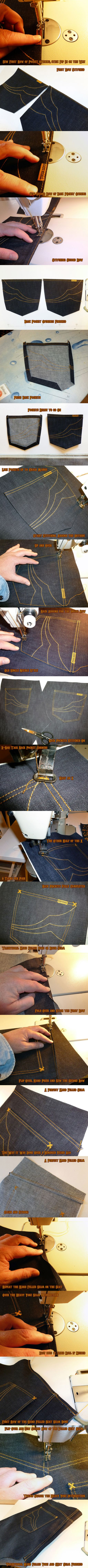 Awesome pic series on making jeans yourself.  Don't know why you'd bother making denim jeans, but if you wanted some with different fabric it might be worth the effort.