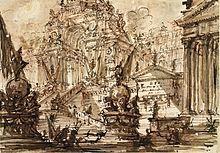 Giovanni Battista Piranesi, Arco di Trionfo (1745-1750 circa); penna e inchiostro bruno, acquarello su matita rossa, 14,7 x 21,1 cm, British Museum, Londra