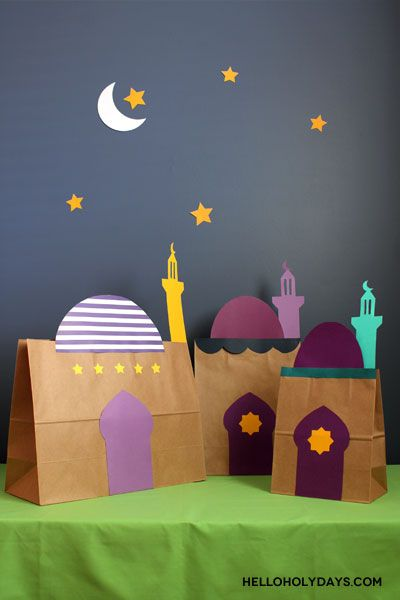 Transform simple kraft paper bags into playful mosques with our free printable clipart!