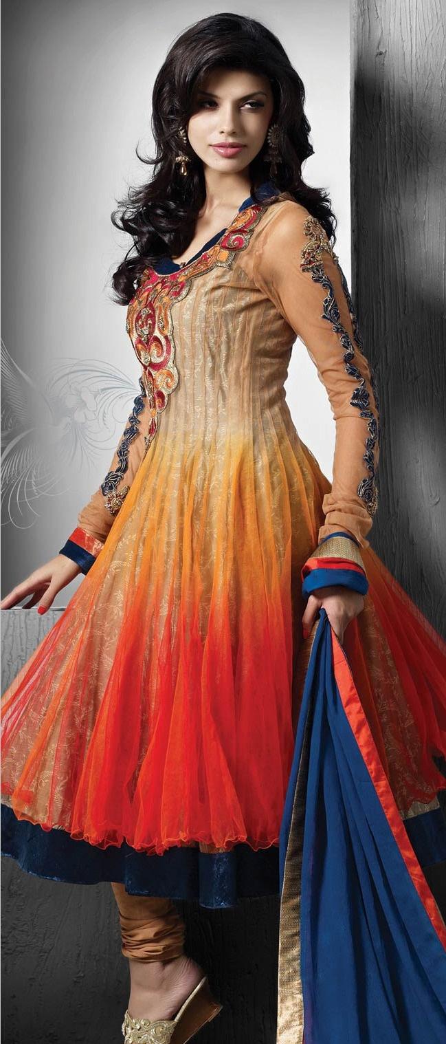 Shaded #Orange and Beige Net Readymade #Anarkali Churidar Kameez @ $222.41