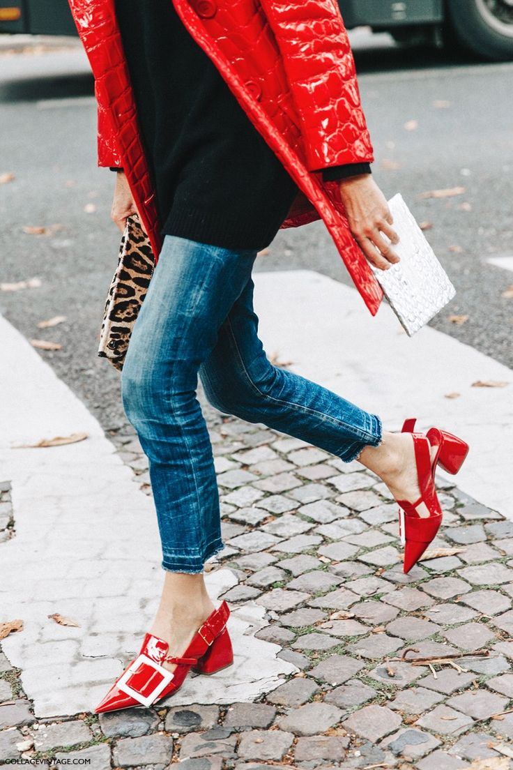 PFW SS 2016 | Street Style | Red Patent Coat and Shoes. Worn with Black Jumper and Cropped Denim | Photo: collagevintage.com