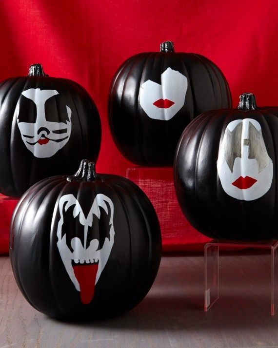 rock and roll all night and party every day our kiss inspired quartet was designed with craft paint and stencils pumpkins decorated by anna teal - Pumpkins Decorations