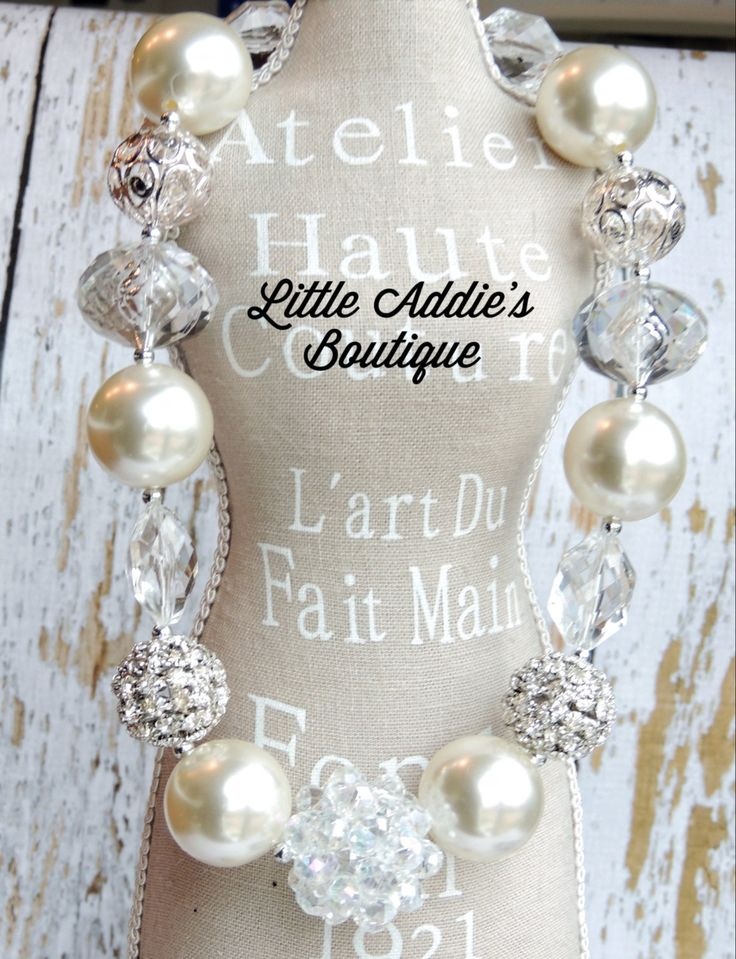 Chunky Bead Necklace  Ivory  The Monroe by Littleaddiesboutique, $29.00