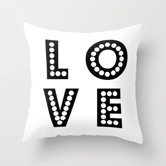 Love pillow/love pillow cover/black and white by haroulitasDesign