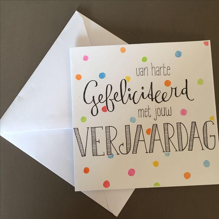 Van Harte Gefeliciteerd Met Jouw Verjaardag #handletteren #handlettering #verjaardagskaart #kaart #birthdaycard