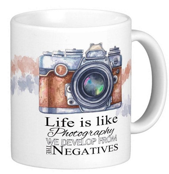 Photography Gift Mug, with life quote, watercolor and sketch camera, gift mug