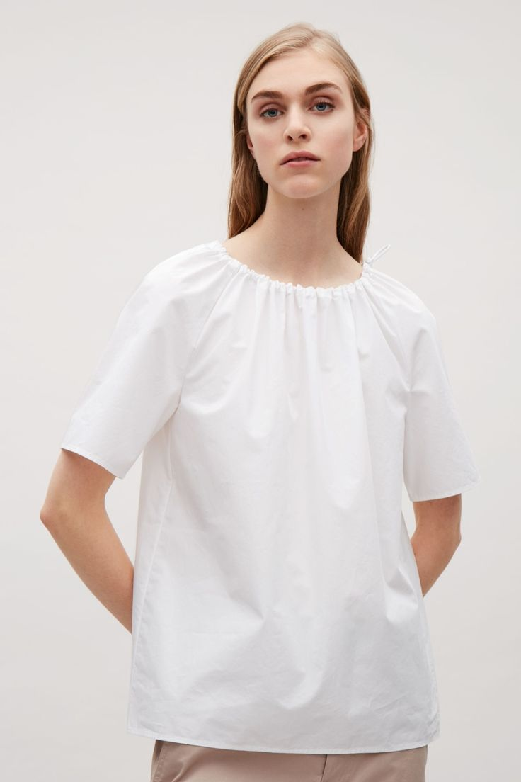 COS image 2 of Drawstring-neck Cotton Blouse in White