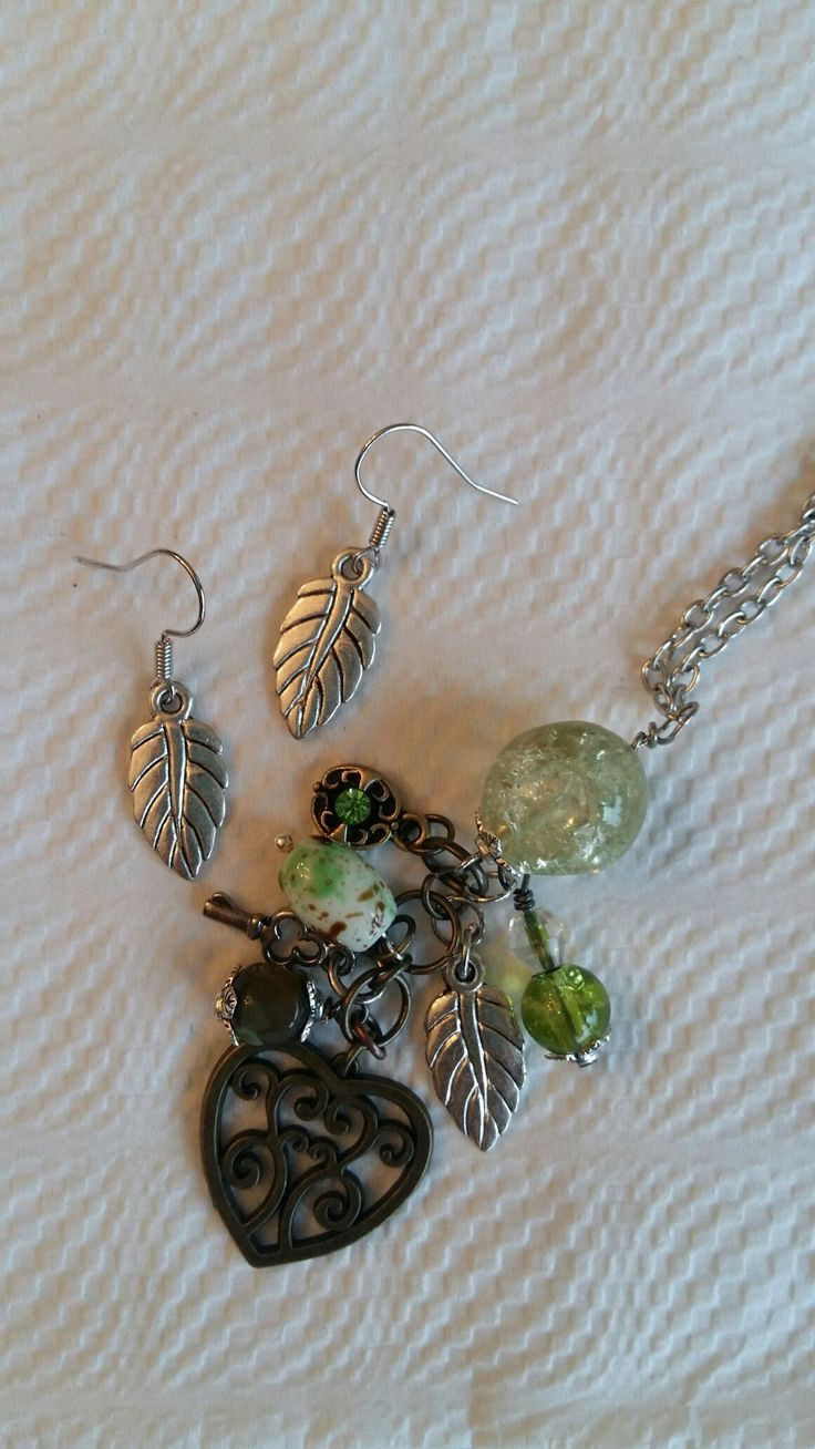 Green, bronze and silver leaf set