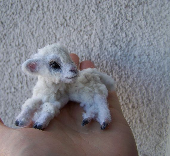 OOAK Dollhouse Miniature Lamb by Malga by malga1605 on Etsy