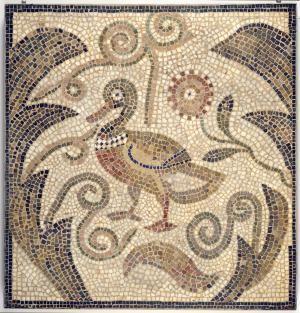 Little Known Roman Jewish Mosaic Art, Hamman Lif Synagogue in Tunisia: Duck Facing Left in Vines