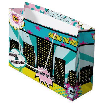 Comic Superhero Girl Party Gift Bag - birthday gifts party celebration custom gift ideas diy