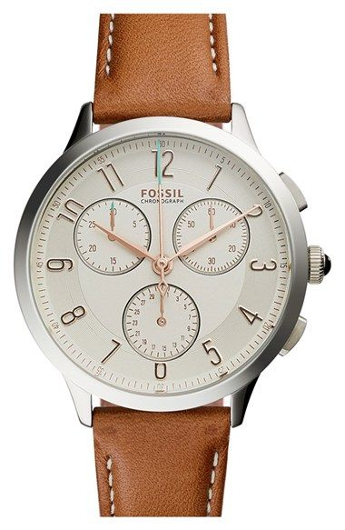 Fossil 'Abilene' Chronograph Leather Strap Watch, 34mm available at #Nordstrom