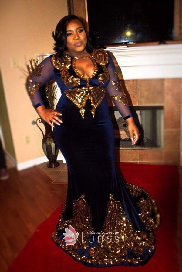 Gold Sequin with Sheer Blue Long Sleeve Plus Size Velvet ...