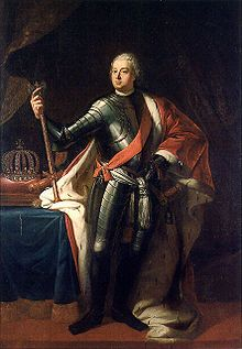 Frederick William I (German: Friedrich Wilhelm I) (14 August 1688 – 31 May 1740) was the King in Prussia and Elector of Brandenburg (as Frederick William II) from 1713 until his death. He was the sovereign prince of the Principality of Neuchâtel.    The King acquired a reputation for his fondness for military display, leading to his special efforts to hire the tallest men he could find in all of Europe for a special regiment nicknamed the Potsdam Giants. He was known as the Sol