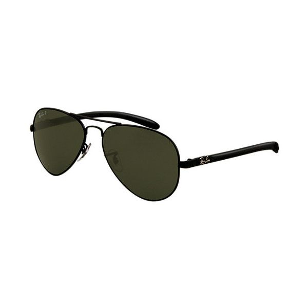 RB8307 002/N5 58-14 AVIATOR CARBON FIBRE ($245) ❤ liked on Polyvore featuring accessories, eyewear, sunglasses, aviator style sunglasses, ray ban sunglasses, aviator eyewear, ray ban glasses and ray-ban