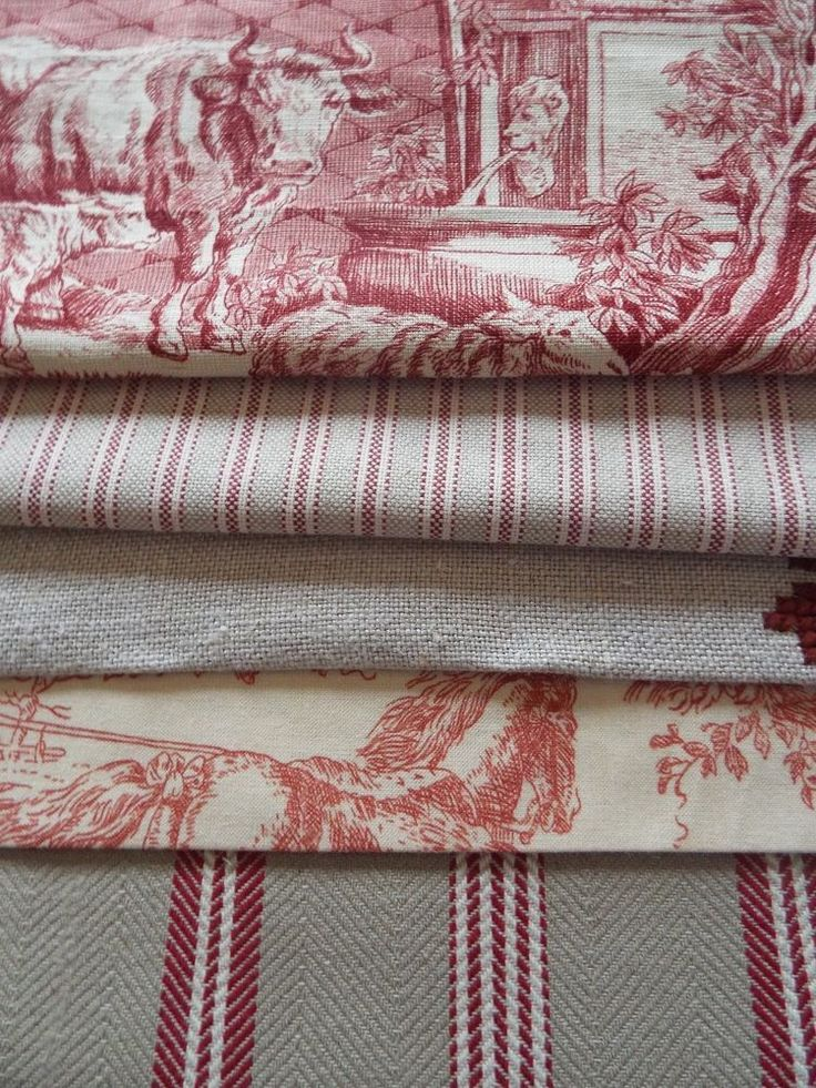 French vintage new linen Mankin ticking toile de jouy fabric bundle