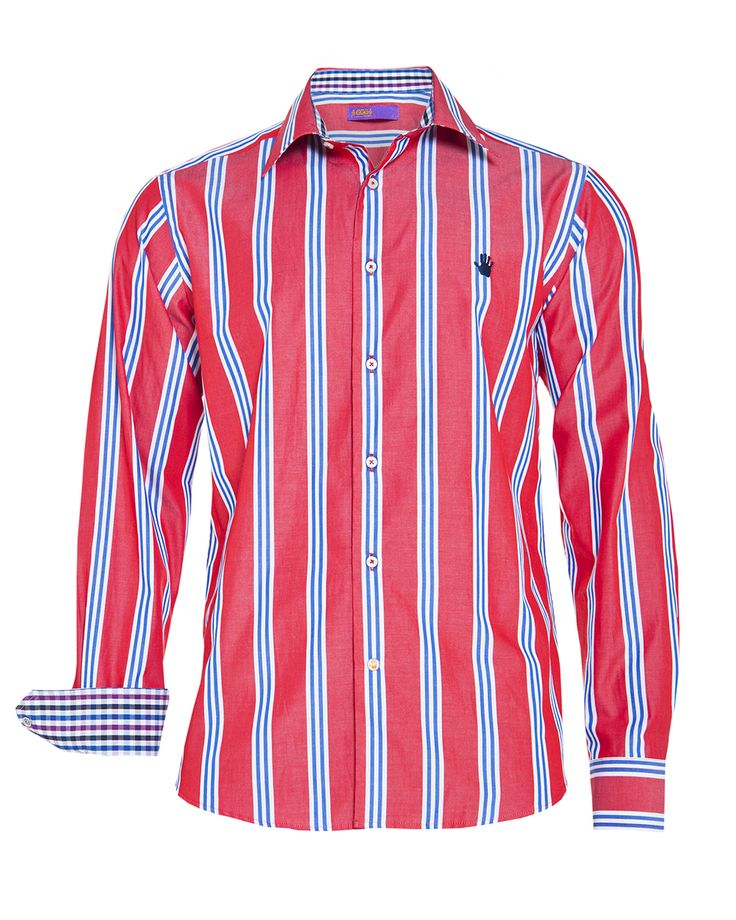 Men's red stripe shirt, available at www.46664fashion.com