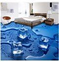 Blue Decorative Melting Ice Cube Pattern Antiskid and Waterproof 3D Floor Murals on sale, Buy Retail Price 3D Floor Murals at Beddinginn.com