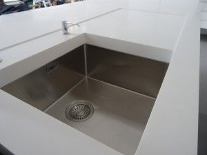 Integrated Corian drainer with Franke stainless steel sink