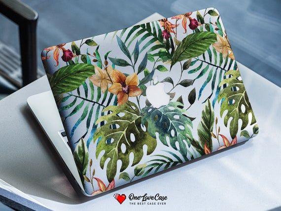 Tropical pattern palm and montera leaves protective case Hard plastic macbook cover 12 macbook case, touch bar macbook, new macbook pro 13