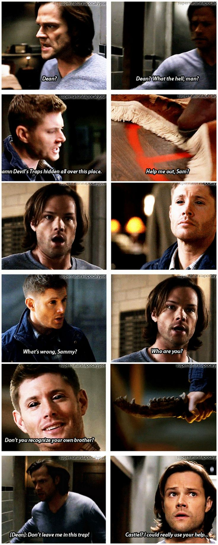 I think Dean is goin to TRY to hide it But Castiel will see his true form amd Dean will beg him not to tell sam