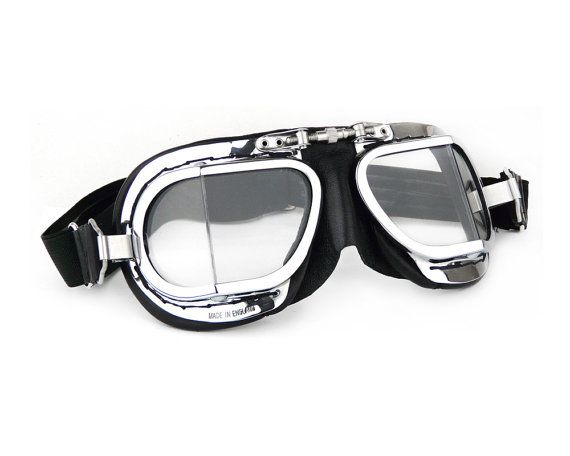 Halcyon Mark 9 Compact Deluxe Motorcycle Goggles / Black PVC Leather / Chrome Plated Frames / For Open Faced Motorcycle Helmets