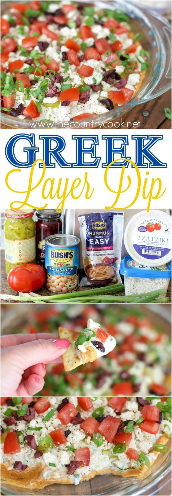Greek Layer Dip recipe with BUSH'S® Hummus Made Easy, tzatziki, Feta cheese and Kalamata olives from The Country Cook. Ridiculously good! Like a seven layer dip but with Greek inspiration! #HummusMadeEasy #ad
