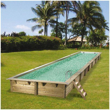 en stock piscine hors sol bois ubbink fsc rectangulaire linea liner beige 7504553 pas cher livraison rapide partout en france - Piscine Hors Sol France