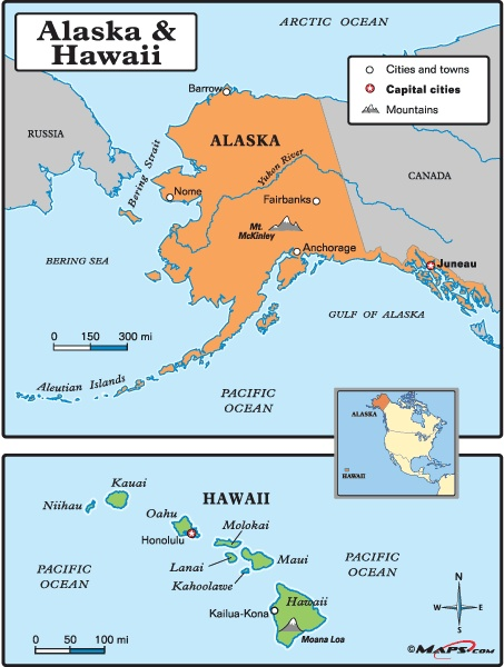Simple, simple, simpleAlaska and Hawaii K 3 map from Maps101