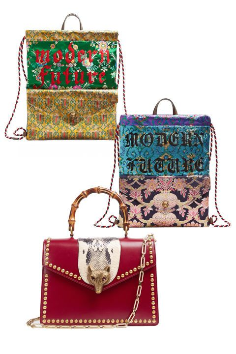 """We aren't surprised that thenew Guccitechpacks are embroidered with the phrase """"Modern Future""""— that's exactly what we think of Alessandro Michele' style. Alongside their drawstring backpacks is Gucci's new Broche bag, a step away from their classic Dionysus style.We see no end to Gucci's aestheticof opulenteccentricity, and to be honest, we never want to. Gucci bags, prices vary by style;gucci.com"""