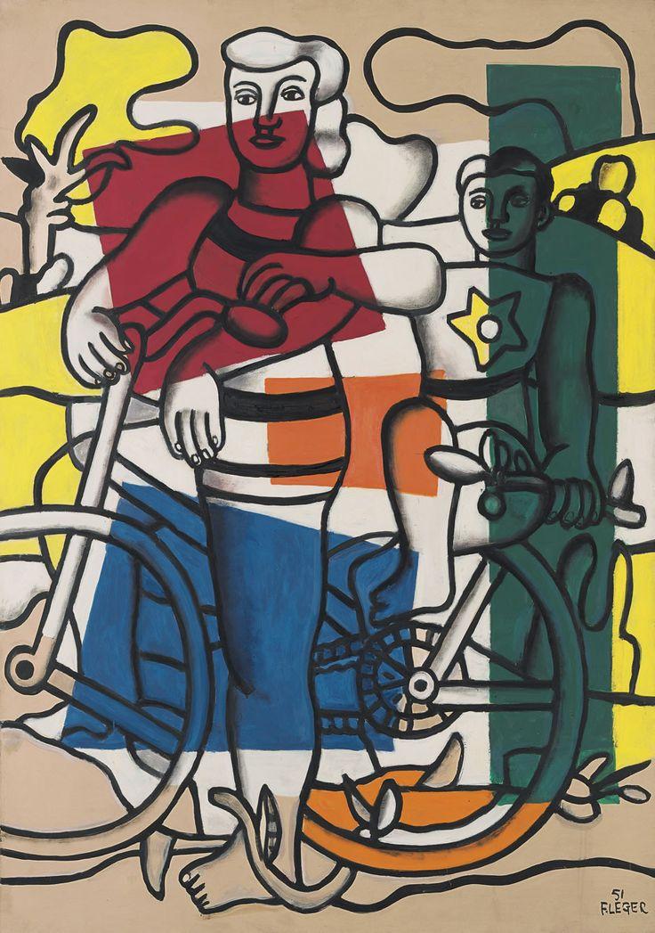 Les deux cyclistes, la mère et l'enfant, 1951by Fernand Léger