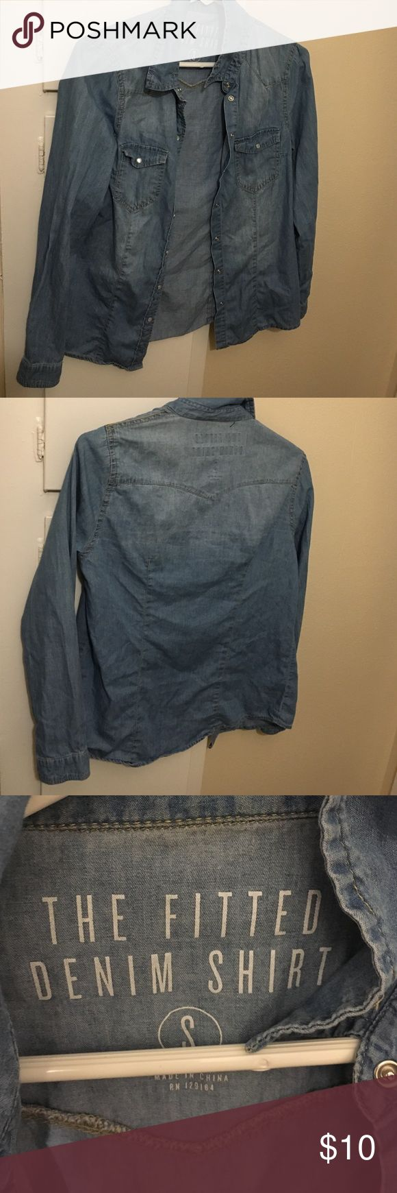 Blue chambray shirt Blue chambray shirt . Small. Tops Button Down Shirts