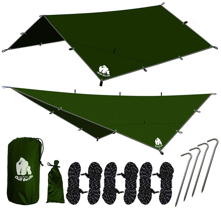 CHILL GORILLA 12' HAMMOCK RAIN FLY TENT TARP Waterproof Camping Shelter. Essential Survival Gear. Stakes Included. Lightweight. Easy to setup. Made from RIPSTOP Nylon BLUE : Sports & Outdoors