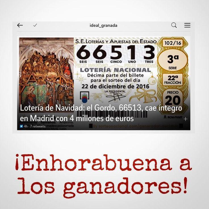 #InstagramELE | #premio | Hoy se ha celebrado la lotería de Navidad en España y este es el número ganador del primer premio. A alguien le ha tocado algo?