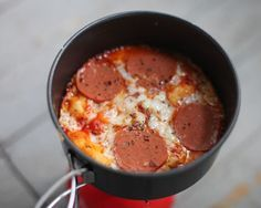 Gourmet Camping Dinner Recipes {Camp Stove Pizza Pictured} - This can be made gluten-free with GF Bisquick.