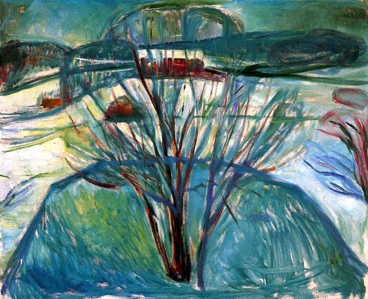 Edvard Munch, Winter Night, oil on canvas, 1921 Munch's Soft Winter Landscapes | Paint Watercolor Create