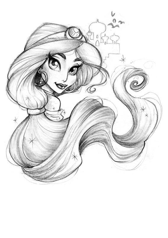 Нарисованные принцессы диснея карандашом картинки
