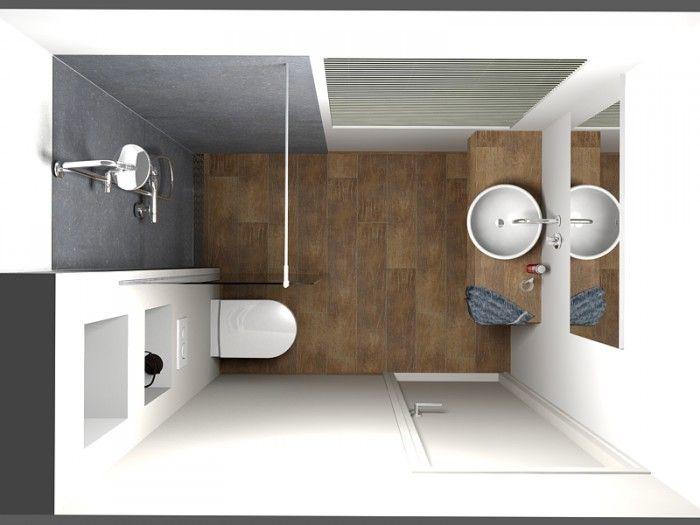 ... badkamer heeft een afmeting van 220 cm x 160 cm. In de kleine badkamer